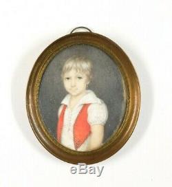 Miniature Tableau Peinture Ancienne Huile Personnage, Portrait, Garçon, Boucle