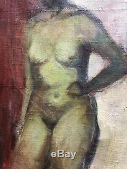 N. Courrouy École Toulousaine 1950 Tableau Ancien Peinture Nu Expressionisme XXe
