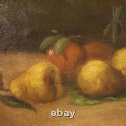 Nature morte peinture tableau signé style ancien huile sur toile cadre 900
