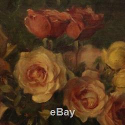 Nature morte tableau peinture signé fleurs huile sur toile cadre style ancien