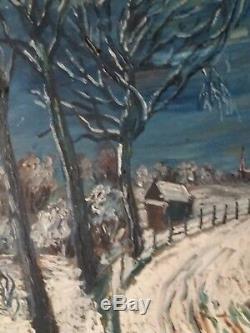 Neige Sous Un Ciel Bleu Tableau Ancien Signe Fontenay Huile Sur Panneau