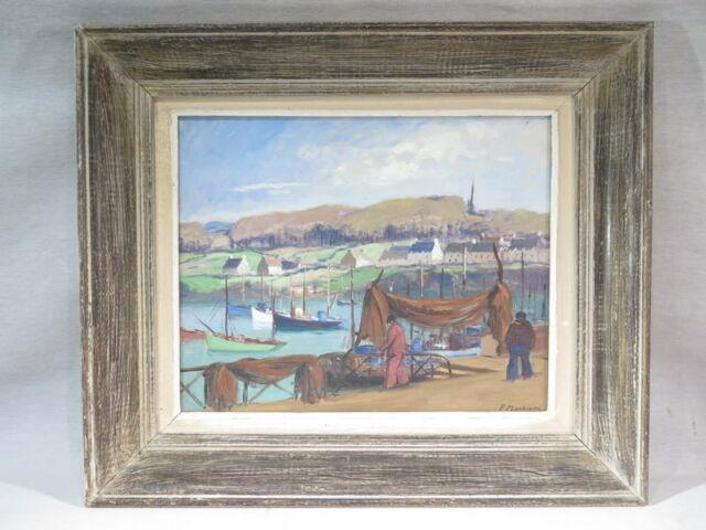 P. Plouhinec Ancien Tableau Peinture Huile Port Pecheurs Bretagne Marine