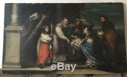 PEINTURE ANCIENNE TABLEAU SCENE RELIGIEUSE 18ème ÉCOLE ESPAGNOLE ESTAMPILLÉ CIRE