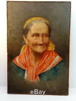 PETROCELLI Ancien tableau peinture HST XIXè signée signed oil painting