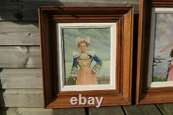 Paire Anciens Tableaux Peintures Portraits Femmes Bretonnes Coiffes Bretagne