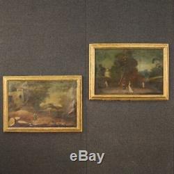 Paire de tableaux ancien paysage avec personnages peintures huile sur toile 700