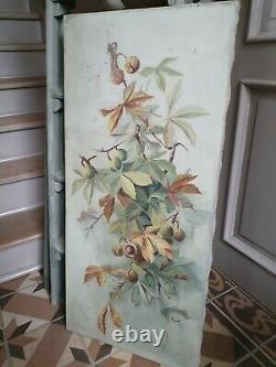 Paire grands tableaux anciens peinture huile sur toile nature morte thème marron
