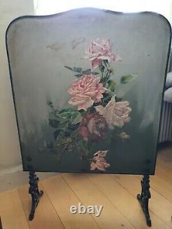 Paravent pare-feu cheminée ancien pieds fonte tableau peinture tôle décor roses