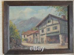 Pays Basque, tableau ancien, peinture à l'huile sur carton, maison Basque