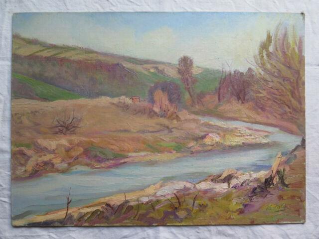 Paysage En Riva Al Rivière Tableau Ancienne Peinture à Huile Signé Garantie P9