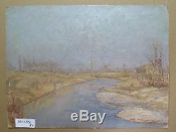 Paysage Impressionniste Peinture Ancienne Tableau Huile sur Table Signé p3