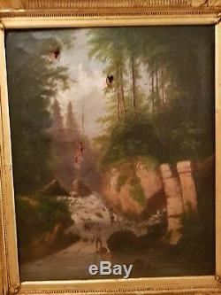 Paysage, Peinture tableau huile ancien XIX ème s, signée à déchiffrer