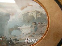 Paysage XIX Tableau Peinture Gouache Ancienne Miniature Ecole Italienne