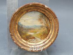 Paysage XIX Tableau Signe Peinture Ancienne Miniature Signee Ecole Italienne