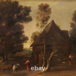 Paysage ancien tableau huile sur toile peinture bucolique 18ème siècle 700