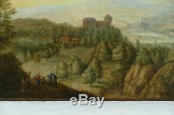 Paysage animé XVIIIème, Huile sur toile peinture tableau ancien
