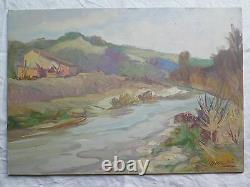 Paysage de Campagne tableau Ancienne Peinture à Huile Signé Avec Garantie p9