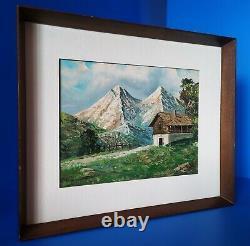 Paysage de Montagne Alpes Ancienne Tableau Peinture Italienne Huile sur toile