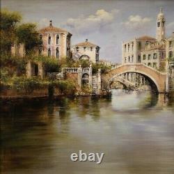 Paysage peinture vue de Venise tableau huile sur toile de style ancien 900