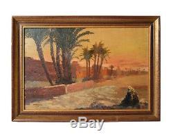 Peinture Ancienne Tableau Huile Signé Orientaliste Vue de Marrakech, 1932