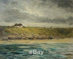 Peinture Ancienne Tableau Huile signé, Paysage, Marine, Mer, Bretagne