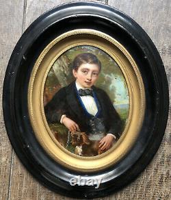 Peinture Fixé sous Verre Portrait Jeune Garçon & son Chien Tableau Ancien XIXème