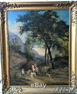 Peinture, Huile ancienne RETOUR DE CHASSE Tableau XVIIIe