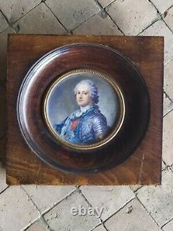Peinture Miniature portait de Louis XVI Ancien Cadre Bois, tableau