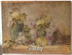 Peinture Tableau Ancien Huile signé Jakub Obrovsky, Nature Morte, Bouquet Fleurs