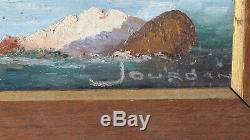 Peinture Tableau Ancien Huile signé Jourdan, Marine, Paysage, Marin, Bateau, Mer