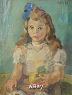 Peinture Tableau Ancien Huile signé Ludwig KLIMEK (1912-1992) Portrait, Fille