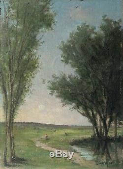 Peinture Tableau Ancien Huile signé MARTINET Paysage, Arbre, Personnages