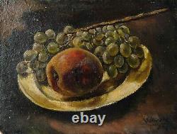 Peinture Tableau Ancien Huile signé Nature Morte, Fruits, Raisin, Pommes