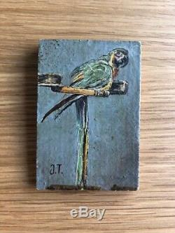 Peinture Tableau Ancien Huile signé, Perroquet, Oiseau, Animal
