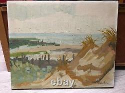 Peinture Tableau Ancien Huile sur Toile signé, Paysage, Bord de Mer, Dune, Sable