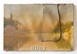 Peinture Tableau Ancien XIXème, Paysage, Fleuve, Pont, Ville