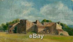 Peinture Tableau Ancienne Original XIXème Paysage, Maisons, Végétation