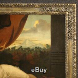 Peinture ancien tableau huile sur toile Vénus et l'Amour cadre XVIIIème siècle