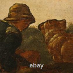 Peinture ancien tableau italien huile sur toile paysage vaches cadre 800 art