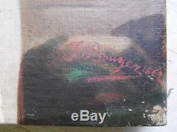 Peinture ancienne JEUNE FEMME à la COLOMBE Signé J. Bouyer 1862 Tableau 61x50cm