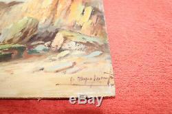Peinture ancienne à l'huile Bretagne Normandie -Tableau ancien signé