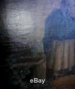 Peinture ancienne à l huile sur toile grand tableau charmante scene de genre