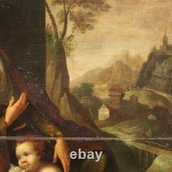Peinture ancienne huile sur panneau tableau religieux Sainte Famille 600