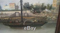 Peinture ancienne tableau 19 ème Port de Bordeaux Bateau vapeur à Aube ANGLAIS