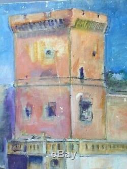 Peinture ancienne tableau école provençale marseille fort saint jean sublime