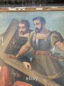 Peinture ancienne tableau religieux art huile sur toile chemin de la croix 700