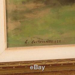 Peinture huile sur toile tableau paysage personnages signé style ancien cadre