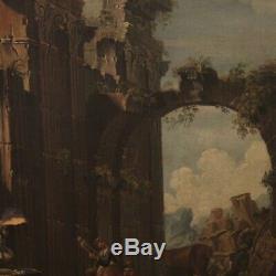 Peinture ovale ancien tableau huile sur toile paysage personnages ruines 700