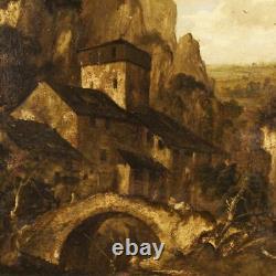 Peinture paysage huile sur toile tableau italien personnages ruines style ancien