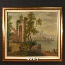 Peinture paysage tableau huile sur toile marine ruines personnages style ancien